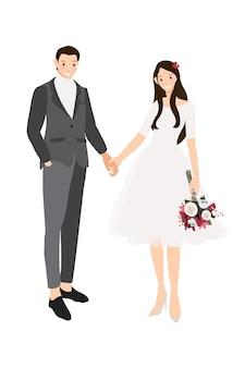 Novios tomados de la mano en traje gris casual y vestido estilo plano
