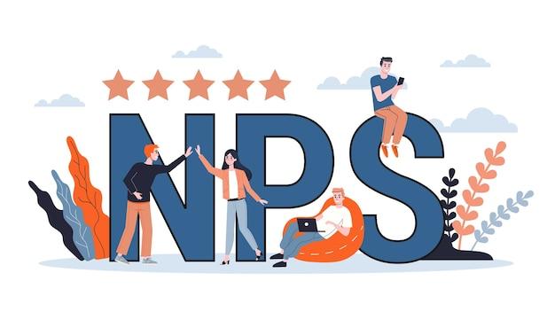 Nps o puntuación del promotor neto. idea de publicidad y comunicación. estrategia de negocios. ilustración