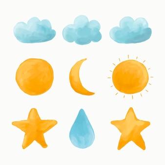 Nube de acuarela, sol, luna, conjunto de vectores de estrellas