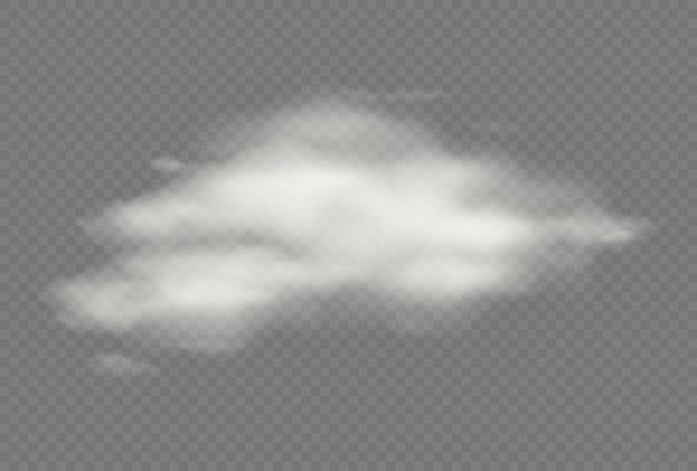 Nube aislada transparente de vector realista. ilustración de cielo nublado y esponjoso. tormenta, efectos de nubes de lluvia. plantilla de concepto de clima de atmósfera