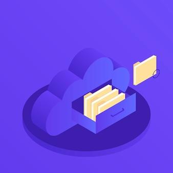 Nube de almacenamiento de datos plana 3d isométrica servidor de tecnología empresarial. cajón de documentos en gabinete en forma de nube. ilustración isométrica moderna