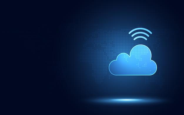 Nube azul futurista con tecnología de transformación digital de señal digital inalámbrica