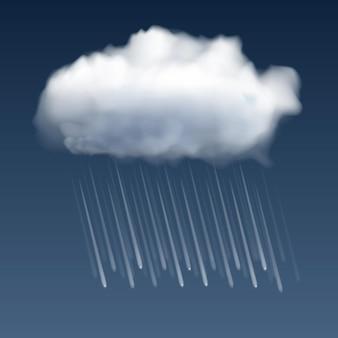 Nube blanca realista y gotas de lluvia sobre fondo gris