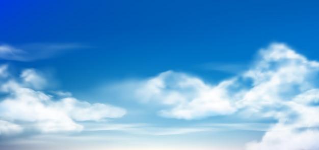 Nube en cielo azul esponjosas nubes en cielo nublado durante el día. ilustración realista de nubes blancas