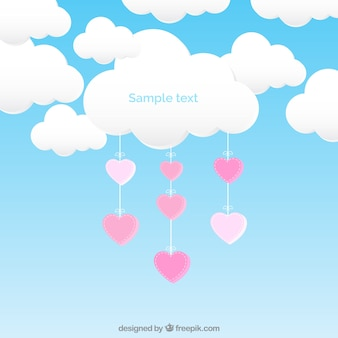 Nube con corazones colgantes