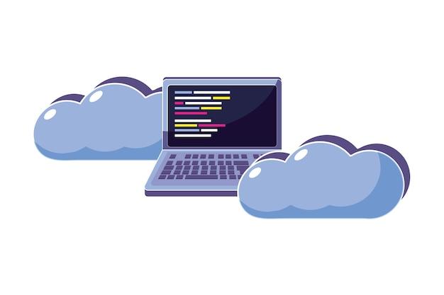 Nube de datos con laptop y programación de código