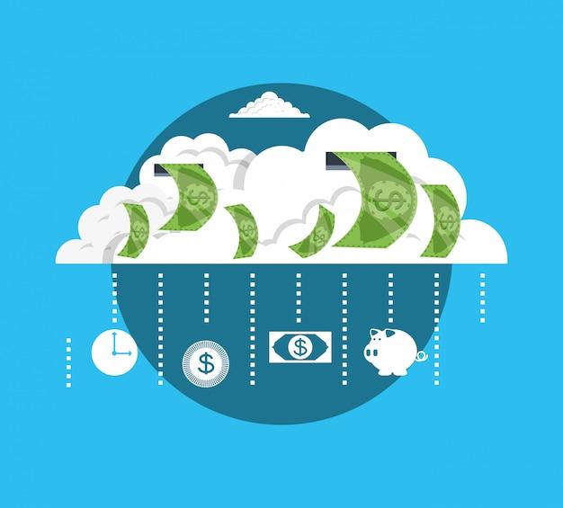 Nube con dinero en dólares bill