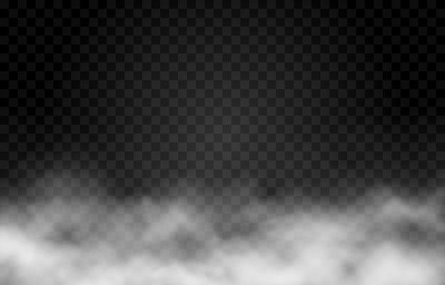 Nube de humo o niebla sobre fondo transparente