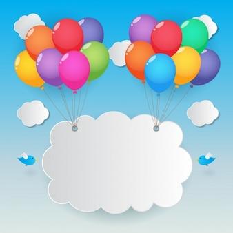 Nube levantada por globos de colores
