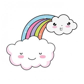 Nube linda con el carácter kawaii del arco iris