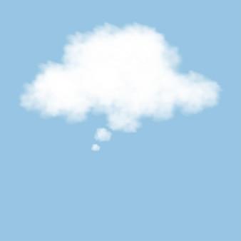 Nube de pensamiento en el cielo azul, discurso en blanco blanco en nube esponjosa 3d.