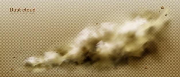 Nube de polvo, humo marrón sucio, humo espeso y espeso