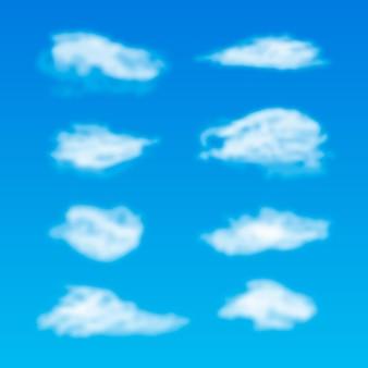 Nube realista en la colección del cielo.