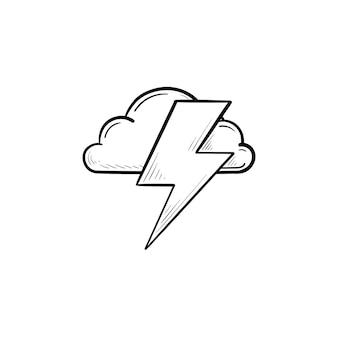 Nube y relámpago icono de doodle de contorno dibujado a mano. concepto de rayo, flash y tormenta