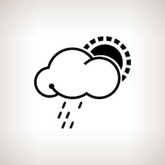 Nube de silueta con sol y lluvia sobre un fondo claro, ilustración vectorial en blanco y negro