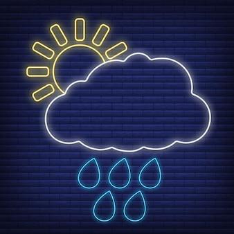 Nube de sol con icono de lluvia resplandor estilo neón, ilustración de vector plano de contorno de condición meteorológica de concepto, aislado en negro. fondo de ladrillo, material de etiqueta climática web.