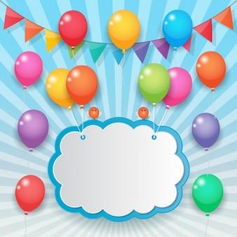 Nube sujetada con globos de colores
