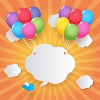 Nube sujetada por globos de colores