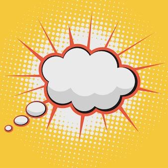 Nube para texto de burbuja de cómic sobre un fondo de patrón de puntos en estilo retro pop-art