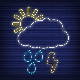 Nube con trueno de relámpago, icono de lluvia resplandor estilo neón, ilustración de vector plano de contorno de condición climática de concepto, aislado en negro. fondo de ladrillo, material de etiqueta climática web.