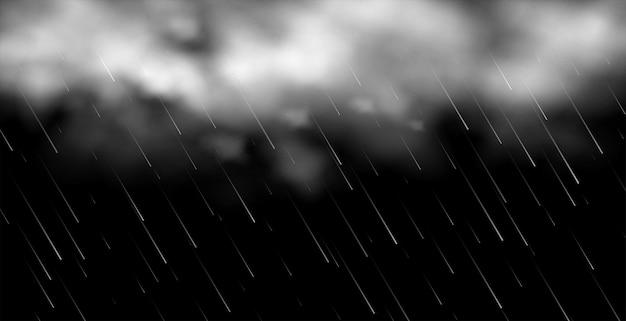 Nubes 3d con fondo de lluvia