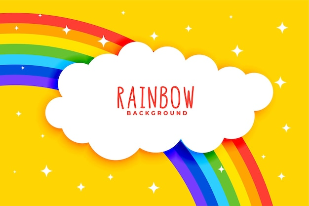 Nubes y arco iris sobre fondo amarillo