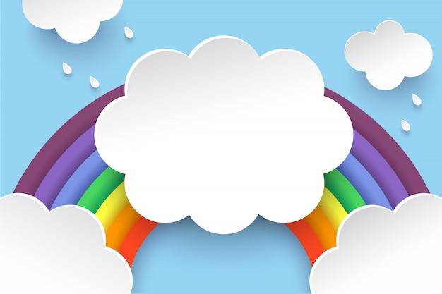 Nubes y arcoiris en estilo arte de papel.