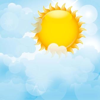 Nubes azules con fondo de sol. ilustración vectorial
