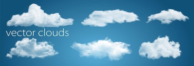 Nubes blancas aisladas en la ilustración de vector de fondo azul transparente para diseñar. clima con cielo brillante y celaje.