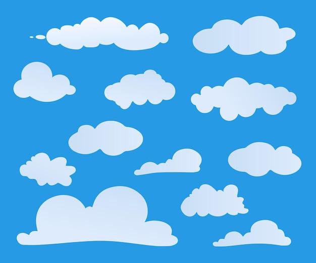 Nubes blancas de diferentes formas aisladas sobre fondo azul. conjunto de símbolo de los iconos de la nube para el diseño de su sitio web, logotipo, aplicación, interfaz de usuario. ilustración vectorial
