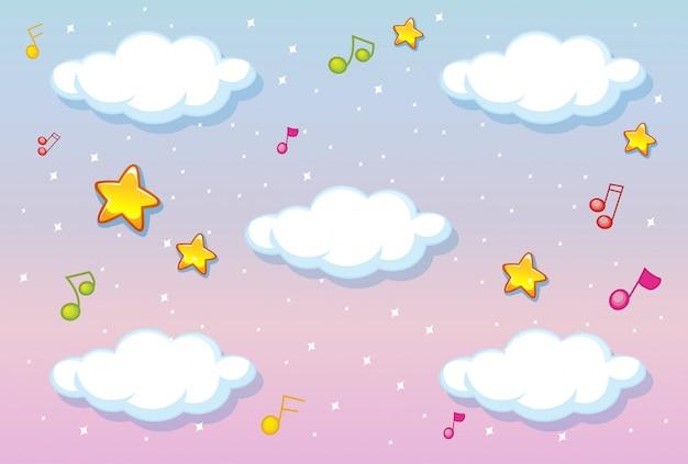 Nubes en blanco sobre fondo de cielo pastel con tema de melodía