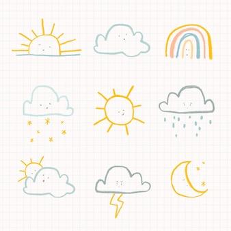 Nubes clima diario etiqueta vector lindo doodle set para niños
