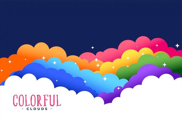 Nubes de colores del arco iris con fondo de estrellas