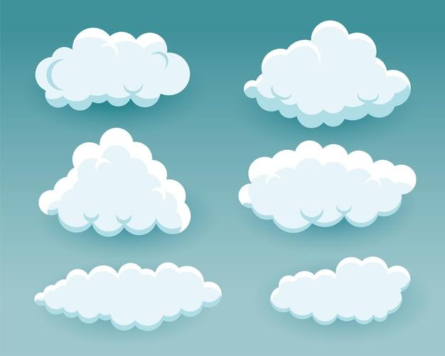 Nubes esponjosas de dibujos animados en diferentes formas.