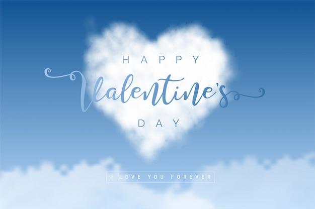 Nubes en forma de corazón en el cielo azul. concepto de amor y san valentín.