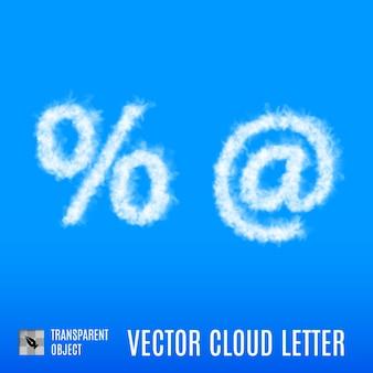 Nubes en forma de porcentaje y al signo sobre fondo azul.