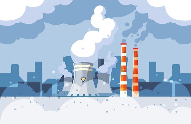 Nubes de humo industriales en el paisaje urbano, contaminación ambiental del reactor nuclear