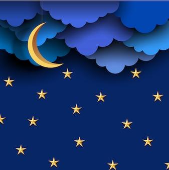 Nubes de papel azul en el cielo nocturno con luna de papel y estrellas