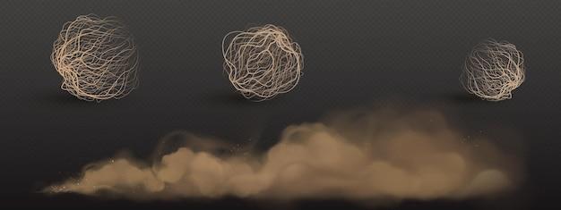 Nubes de polvo marrón y bolas de hierba seca de tumbleweed aisladas en pared transparente