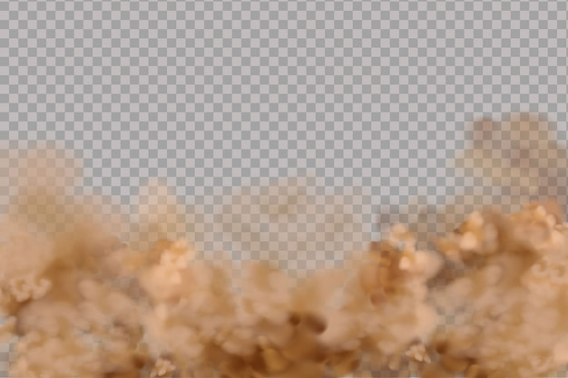 Nubes de polvo o arena seca volando, humo, smog, tierra y partículas de arena.