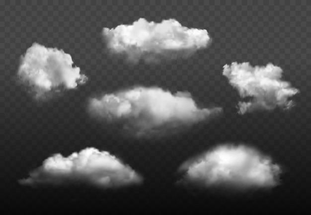 Nubes realistas. conjunto de imágenes de elementos de clima azul cielo nublado