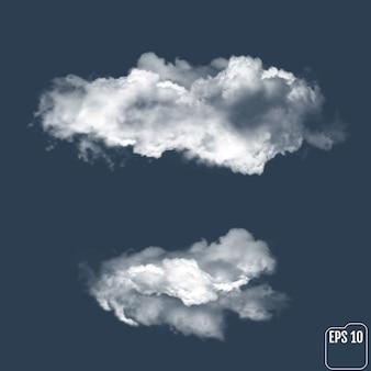 Nubes realistas contra el fondo.