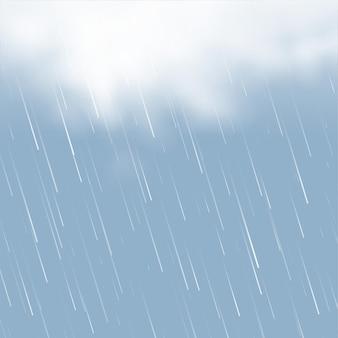 Nubes realistas con fondo de lluvia.
