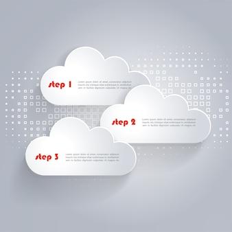 Nubes de red con lugar para texto y fondo tecnológico