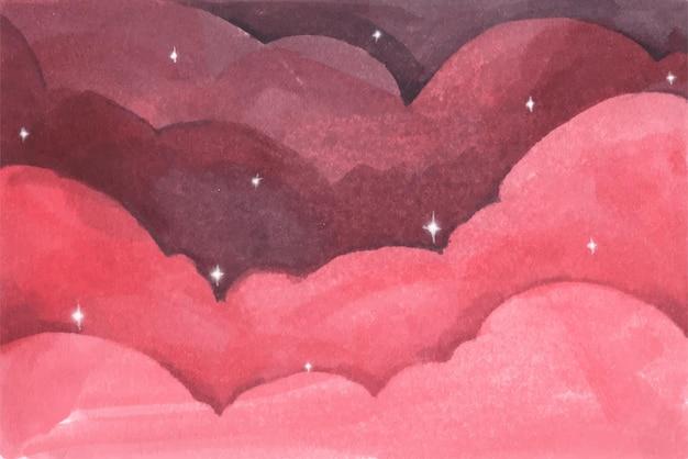 Nubes rosas y estrellas de fondo. cielo nocturno. fondo acuarela pastel abstracto.