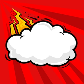 Nubes y truenos destellan sobre fondo cómico