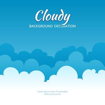 Nublado plantilla de nubes esponjosas estilizada bandera de cielo azul con lugar para texto