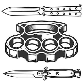 Nudillos de latón, cuchillos aislados sobre fondo blanco. elemento para cartel, emblema, signo. ilustración