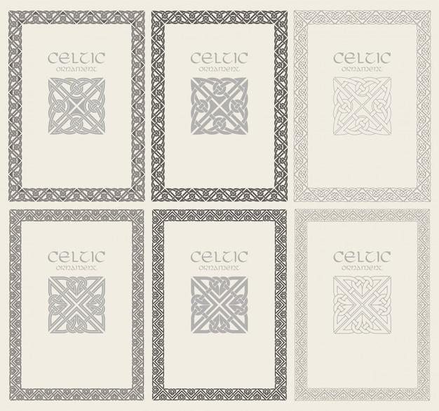 Nudo celta trenzado marco ornamento frontera. tamaño a4