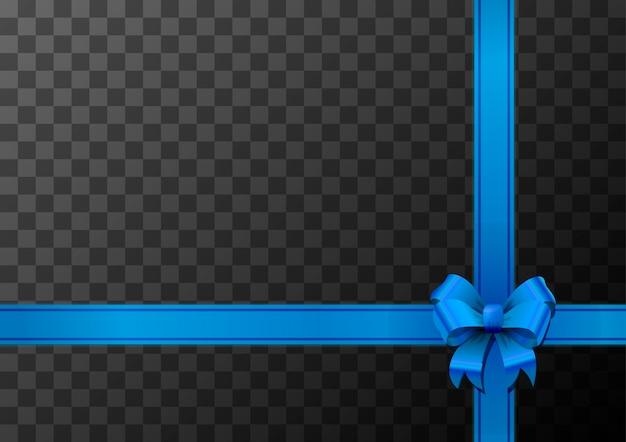 Nudo de lazo azul y cinta sobre fondo transparente